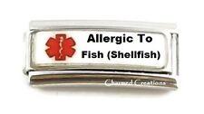 Allergic To Fish (Shellfish) Caduceus Medical Alert 9mm Italian Charm Superlink