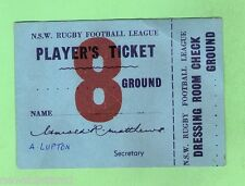 #D132.  1960s RUGBY LEAGUE PLAYER'S TICKET, SOUTH SYDNEY INTO BELMORE OVAL
