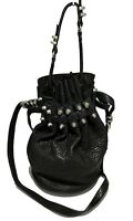 ALEXANDER WANG BLACK PEBBLED LEATHER 'DIEGO' BUCKET BAG, $995