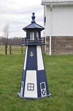 "Large 39"" Navy Lighthouse Poly Vinyl Solar Yard Garden Decoration Outdoor"