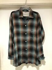VTG 1950'S ARROW CHEVELLA RAYON SHADOW PLAID LOOP COLLAR SHIRT L 16 ROCKABILLY