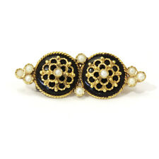 Lovely Antique Onyx and Seed Pearl Brooch in 14ct Yellow Gold