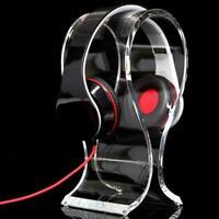 Clear Crystal Acrylic Headphone Stand Headset Desk Gift Rack Hanger Display I0F1