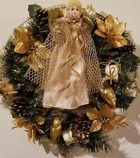 "Christmas Holiday Religious Angel Wreath  12"" Decoration Gold Poinsettia Pine"