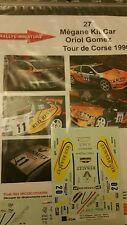 DECALS 1/18 REF 27 RENAULT MEGANE MAXI KIT CAR GOMEZ RALLYE TOUR DE CORSE 1996