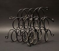 Mid Century Modern Wrought Iron Wine Rack 6 Bottles