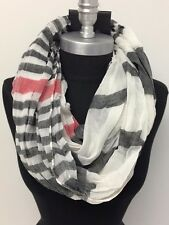 Mens Fashion Infinity Circle Scarf Soft Neck Cowl Wrap Striped White/Black/red
