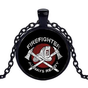 Vintage Firefighter Black Cabochon Glass Necklace chain Pendant