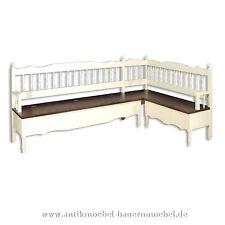 Eck-Sitzbank,Küchenbank,Gartenbank,Holzbank,Landhausstil-möbel,Gründerzeit,weiß
