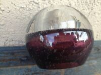 MURANO ART GLASS WEIGHED SPHERE BUD VASE /OIL LAMP CRANBERRY RED, AIR BUBBLES