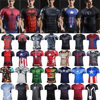 Mens Marvel Superhero Compression T-Shirt Base Layer Fitness Short Sleeve Top
