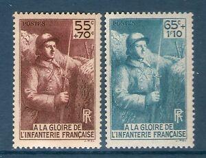 TIMBRE N° 386-387 NEUF ** GOMME ORIGINALE - INFANTERIE - MONUMENT A SA GLOIRE