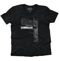 Loading Firearm USA 2nd Amendment Right Arms Adult V Neck Short Sleeve T Shirts