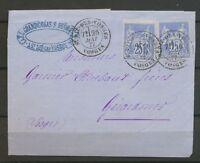 1877 Lettre 50c 2*25c Sage Obl CAD T18 St DIE-DES-VOSGES VOSGES TB. X3131