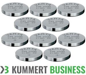 10 VARTA CR2032 Lithium Knopfzellen | 3V 220 mAh | CR 2032 Batterie | 10 Stück