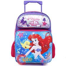 """Little Mermaid Ariel School Roller Backpack 16"""" Large Rolling Wheeled Bag Sea"""