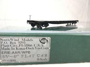 Lot993 Southwind Models Erie- AAR/WPB 53.5' Flat Car S Scale 2 Brass 2 Rail