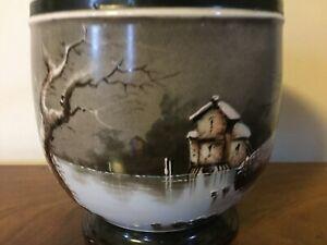 Antique 19th c Paris Porcelain Cachepot Planter Jardiniere Vase Urn Winter Scene