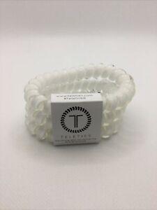Teleties 3 Pack Large Hair Ties Coconut White Ponytail Holder Bracelets NEW
