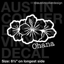 "6.5"" OHANA HIBISCUS vinyl decal car truck window laptop sticker - hawaii flower"