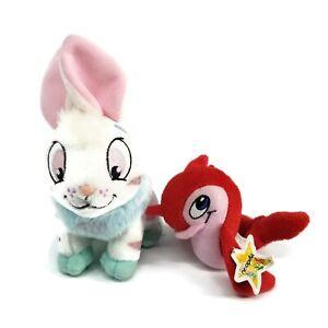 NEOPETS 2007 CYBUNNY Bunny Rabbit Jakks Stuffed Plush Animal & Red Flotsam Toys