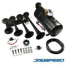 4 Trumpets Train Horn With 1g Air Tank Kit For Truck Car Pickup Loud System 150psi