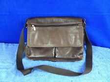 """Fossil Brown Leather Flap Briefcase Cross Body Messenger Bag 15"""" x 13"""""""