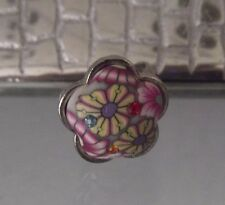 PAINTED PINK FLOWER RING, CRYSTALS, ADJUSTABLE SIZE, YELLOW, LILAC, NEW, AUST.