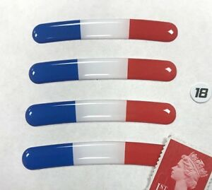 """4 x France Flag Rim Stickers To Fit 18"""" Wheels Super Shiny Domed Finish"""