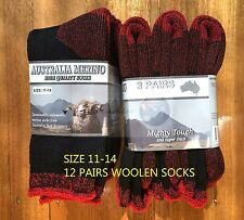 12 PAIRS 11-14HEAVY DUTY AUSTRALIAN MERINO EXTRA THICK WOOL WORK SOCKS BLACK/RED