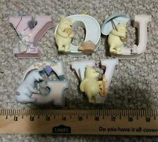 Ceramic Winnie the Pooh 5X Alphabet Letters Lot Y V U G O