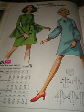 Vtg 60s Simplicity 8240 MOD A Line Dress Sleeve Variation Pattern 32B sz 10 Unc