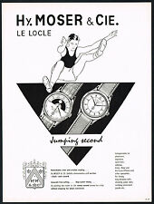 1950's Vintage 1955 Hy Moser & Cie Saltofix Chronometer Wrist Watch Art Print AD