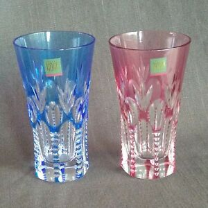 HOYA Crystal Edo Kiriko Hand-Cut Glass Tumbler Pair Red & Blue Made in Japan