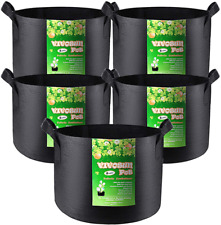 Vivosun 5-Pack 2 Gallon Grow Bags Heavy Duty Thickened Nonwoven Fabric Pots With