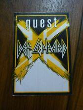 Def Leppard Guest X Tour 2002 2003 Backstage Concert Pass Yellow