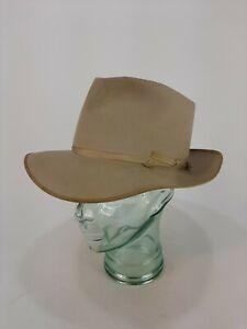 Vintage Stetson Royal De Luxe Open Road Fur Felt Cowboy Hat Natural Beige Size 7