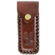 """5"""" REAL LEATHER KNIFE CARRYING POUCH w/ BELT LOOP Tool Folding Case Sheath Brown"""