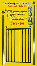 Flat Top Pool Gate Set: Incl in-ground Posts, Magna Latch & Tru Close Hinge Kit