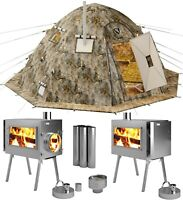 Hot Tent with Wood Burning Stove - 4 Season Cold Weather Expedition Camping Tent
