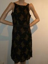 Edles ETUIKLEID - Kleid mit SEIDE - schwarz braun - * CRETON * - Gr. 38