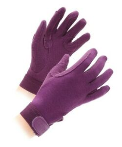 Shires Newbury Children's Horse Riding Pimple Grip Gloves - Purple - Small