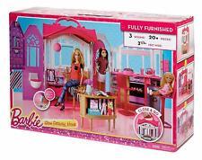 Barbie Glam Ferienhaus Mattel Puppenhaus 3 Zimmer + Zubehör Möbel Tragegriff NEU