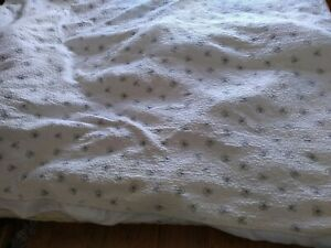 Single Bedspread, White With Black Flowers.