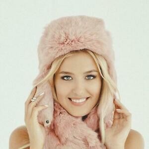 Rabbit Real Fur Hat With Ear Flaps Womens Hats Ushanka Russian Hat (Pink)