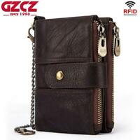 Men Women Genuine Leather Bifold Wallet RFID Card ID Holder Zipper Purse New