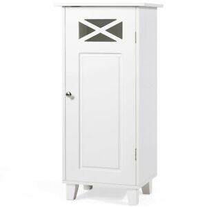 Modern Side Cabinet Slim Retro Storage Cupboard Small White Sideboard Unit