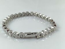 "925 Sterling Silver Solid Heavy Ladies CZ Line Bracelet 7.5"" 16gr Hallmarked"