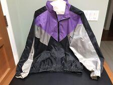 PUMA Sz M Nylon Full Zip Hood Windbreaker Rain Jacket Coat Purple Black Gray