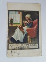 Greeting Postcard Vintage Knitting Grandmother